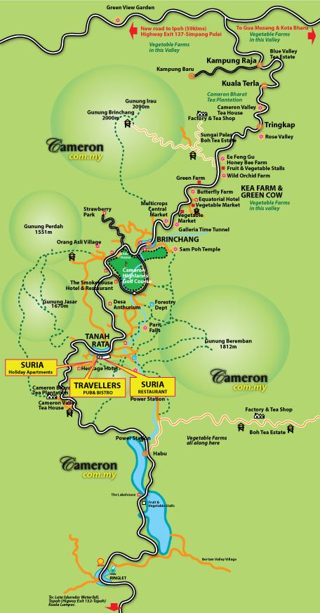 suria Travellers Pub Restaurant Map cameron highlands